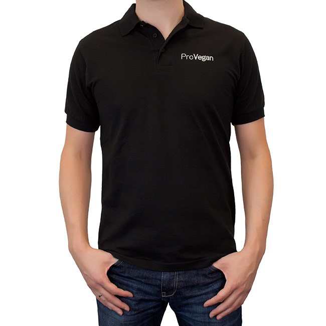 ProVegan Poloshirt Unisex (schwarz)